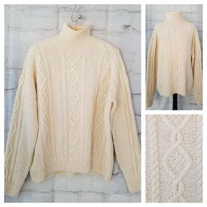 Vintage XL Unisex Oversize Cream Hand Knit Sweater
